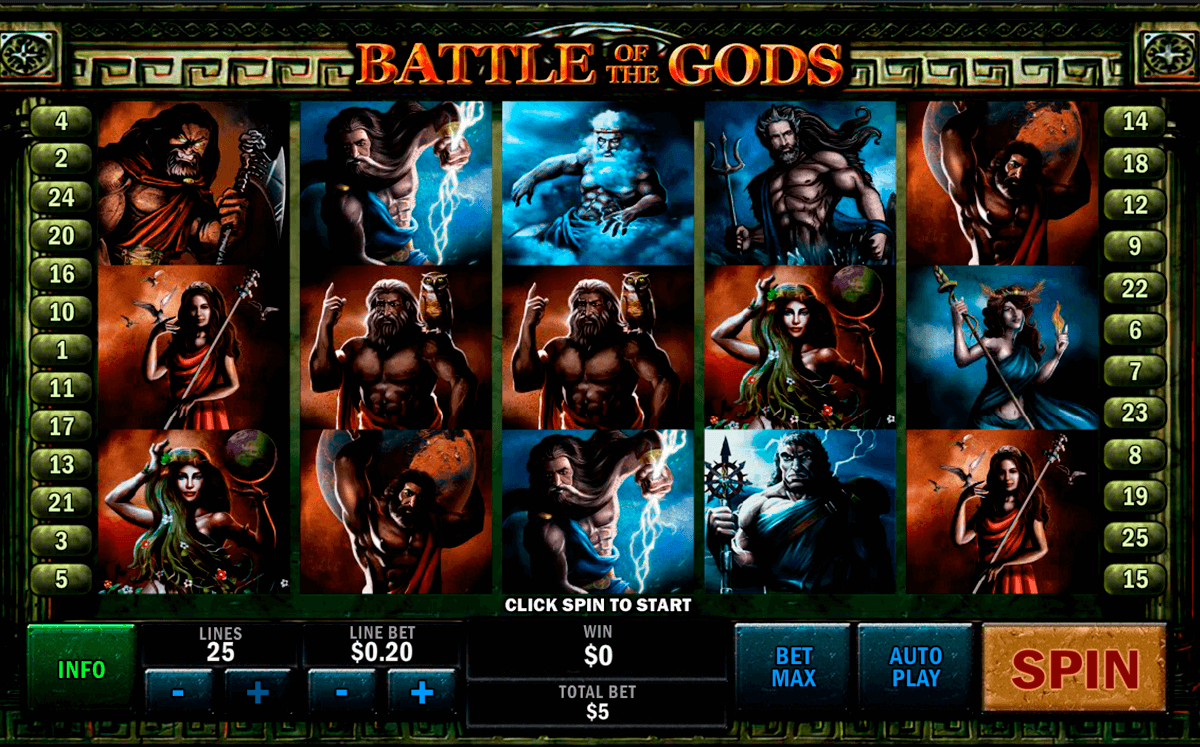 Battle of the gods playtech machine a sous