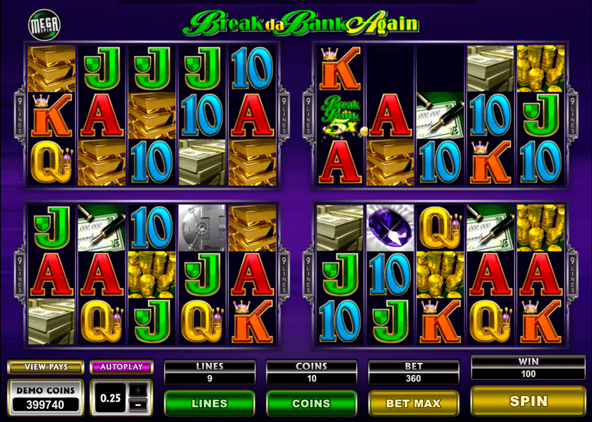 Break da bank again megaspin microgaming machine a sous