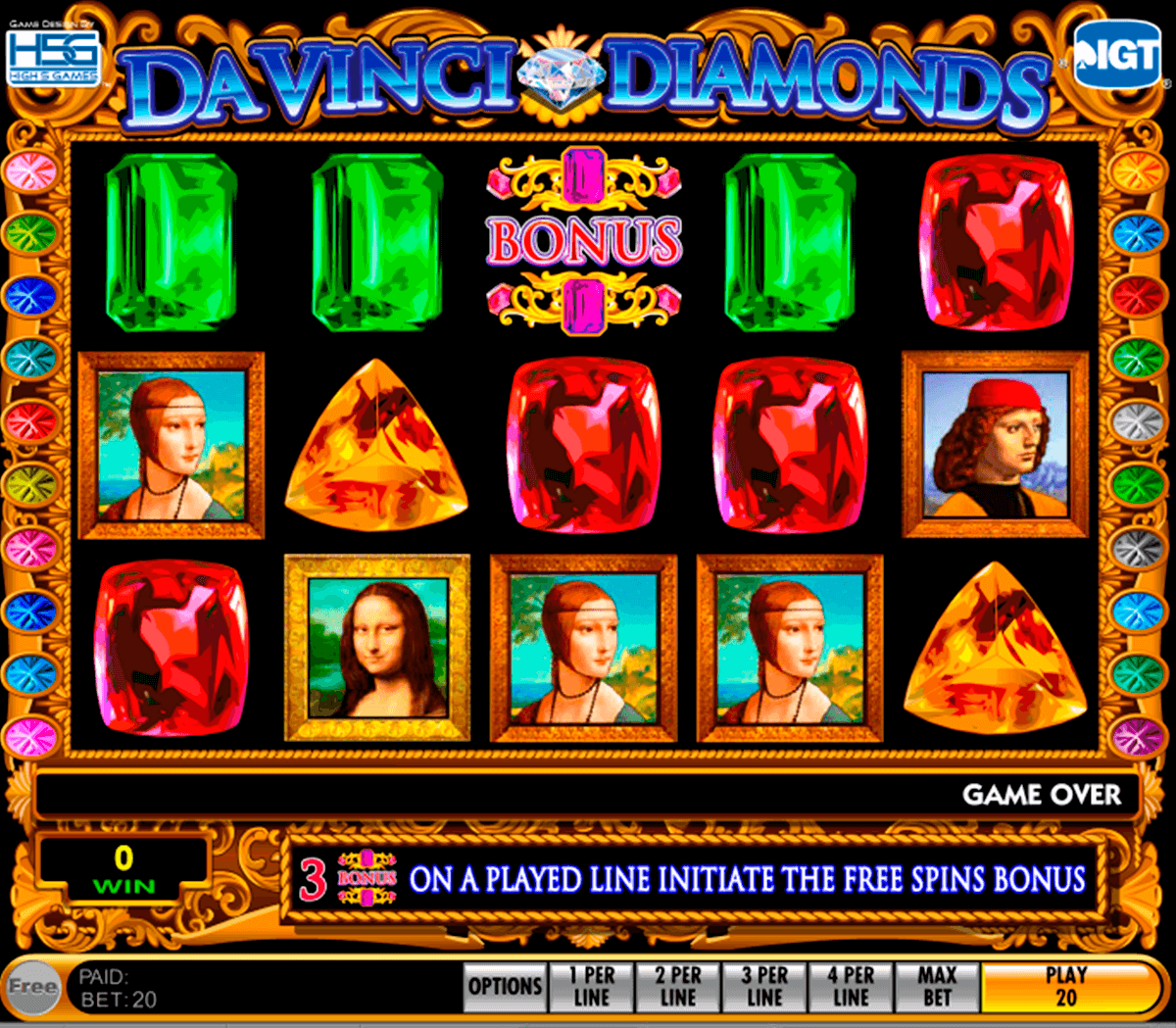 Da vinci diamonds igt machine a sous