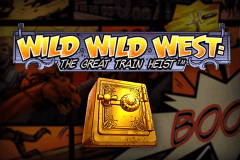 Logo wild wild west the great train heist netent jeu casino