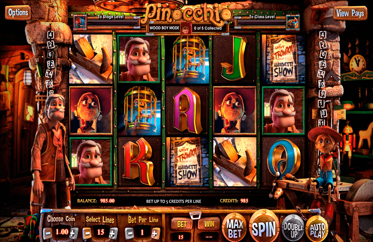Pinocchio betsoft machine a sous