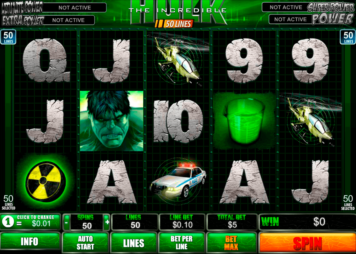 The incredible hulk 50 lines playtech machine a sous