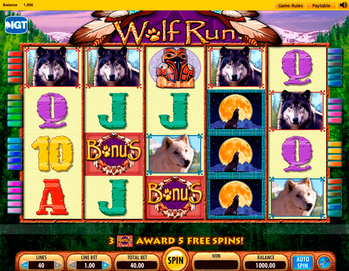 wolf run igt machine a sous